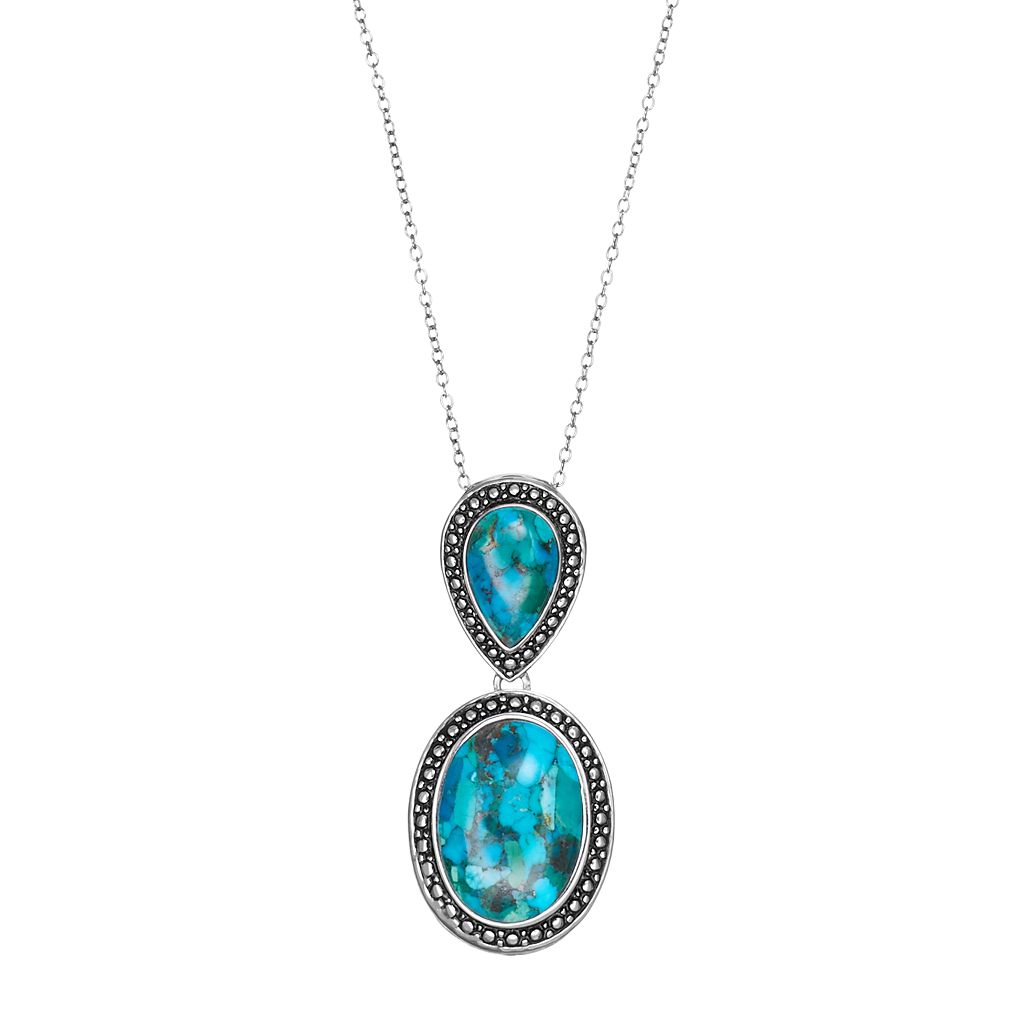 Sterling Silver Simulated Turquoise Teardrop & Oval Pendant