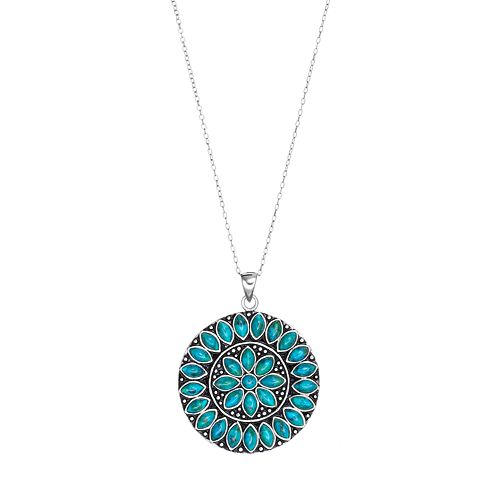 Sterling Silver Simulated Turquoise Medallion Pendant