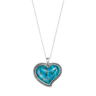 Sterling Silver Simulated Turquoise Heart Pendant Necklace