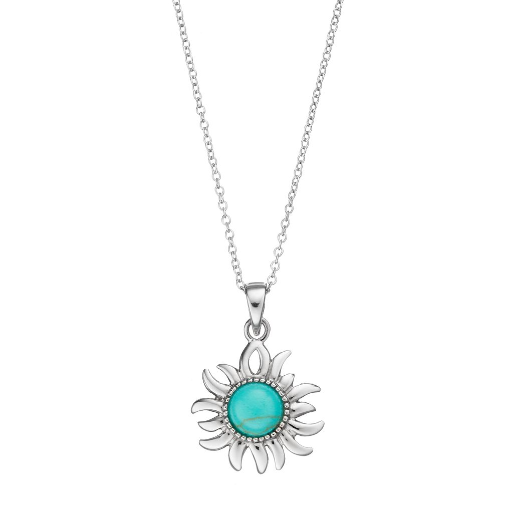 Sterling Silver Simulated Turquoise Sun Pendant Necklace
