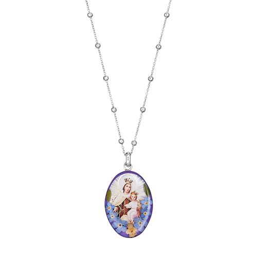 Sterling Silver Pressed Flower Mary & Jesus Pendant Necklace