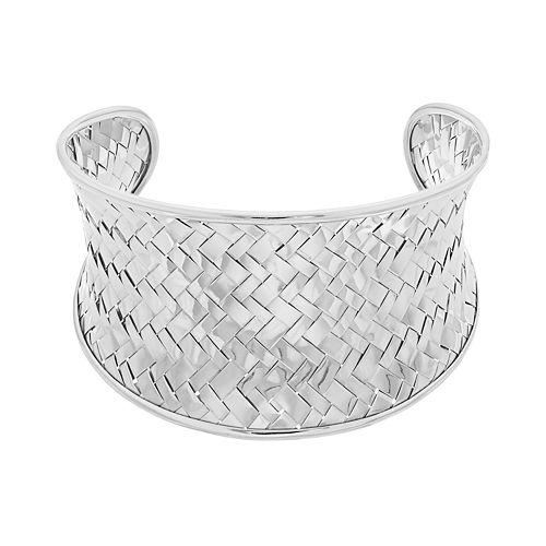 Sterling Silver Beasketweave Cuff Bracelet