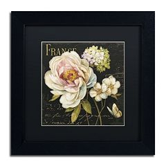 Trademark Fine Art Marche de Fleurs on Black Black Framed Wall Art