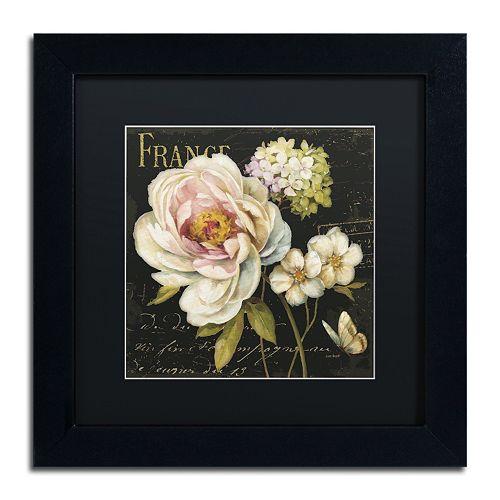 Trademark Fine Art Marche de Fleurs on Black Black Framed Wall Art