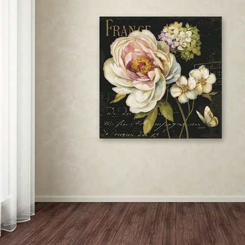 Trademark Fine Art Marche de Fleurs on Black Canvas Wall Art