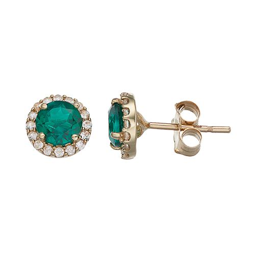 10k Gold Lab-Created Emerald & White Sapphire Halo Stud Earrings
