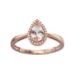10k Rose Gold Morganite& Diamond Accent Halo Ring