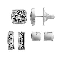 Napier Square Stud & Hoop Earring Set