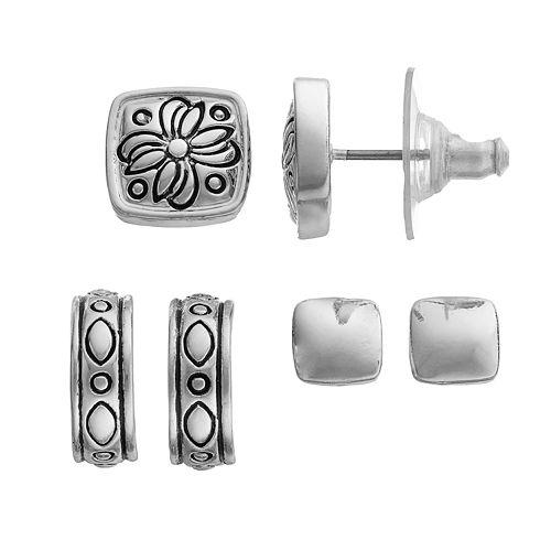 Napier Square Stud & Hoop Earring Set