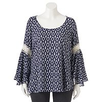 Juniors' Plus Size HeartSoul Bell-Sleeve Peasant Top