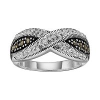 Silver Luxuries Silver Plated Marcasite & Crystal Crisscross Ring