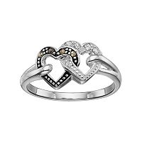 Silver Luxuries Marcasite & Crystal Double Heart Ring