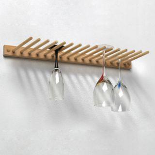 Spectrum 16-Glass Wall Mount Wood Stemware Holder