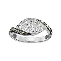 Silver Luxuries Marcasite & Crystal Marquise Ring