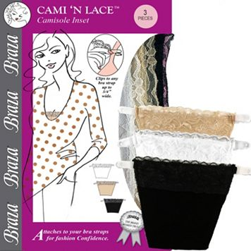 Braza Cami 'N Lace 3-pk. Camisole Inset Cover Ups 5003