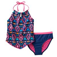 Girls 7-16 SO® Tribal Print 2-pc. Halter Tankini Swimsuit Set