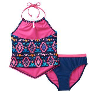Girls 7-16 SO® Tribal Print 2-pc. Halter Tankini Swimsuit Set