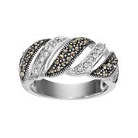 Silver Luxuries Marcasite & Crystal Striped Ring