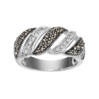 Silver LuxuriesMarcasite & Crystal Striped Ring