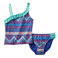 Girls 7-16 SO® Tribal Print Stripe 2-pc. Asymmetrical Tankini Swimsuit Set