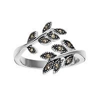 Silver Luxuries Marcasite Leaf Bypass Ring