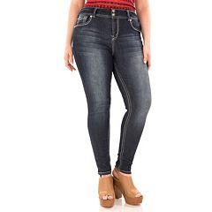 Juniors' Plus Size Wallflower Snowflake Curvy Skinny Jeans