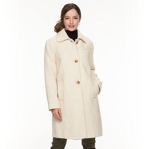 Women's Gallery Basketweave Long Wool Blend Coat