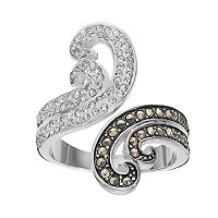 Silver Luxuries Marcasite & Crystal Swirl Bypass Ring