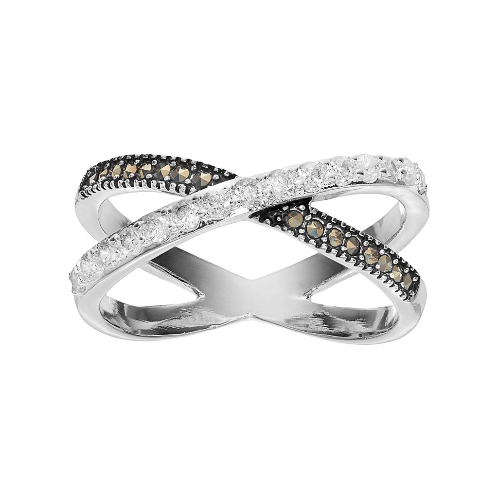 Silver LuxuriesMarcasite & Crystal X Ring