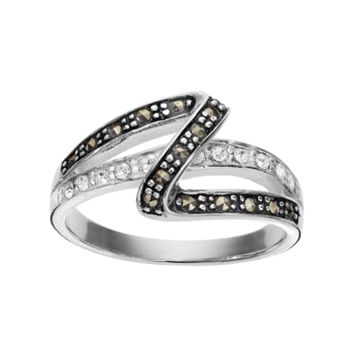 Silver Luxuries Marcasite & Crystal Zigzag Ring