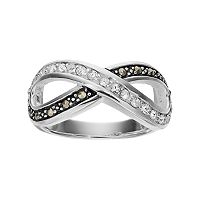 Silver Luxuries Marcasite & Crystal Infinity Ring