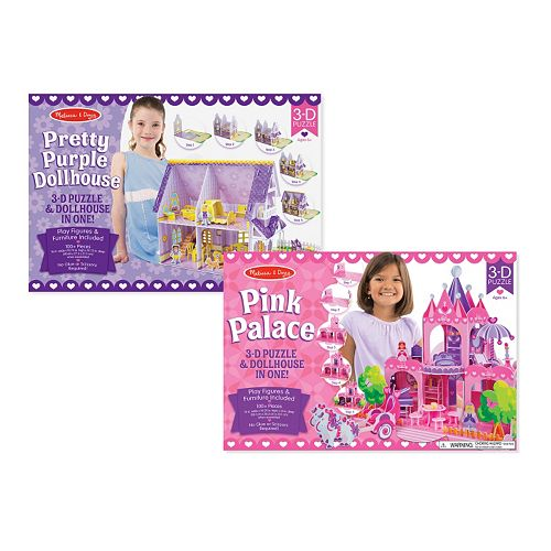 Melissa & Doug Dollhouse & Palace 3D Puzzle Bundle