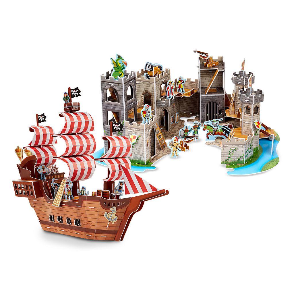 Melissa & Doug Pirate Ship & Castle 3D Puzzle Bundle