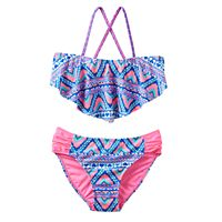 Girls 7-16 SO® Tribal Print Flounce Top 2-pc. Bikini Swimsuit Set