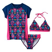 Girls 7-16 SO® 3-pc. Geometric Bikini & Rashguard Swimsuit Set