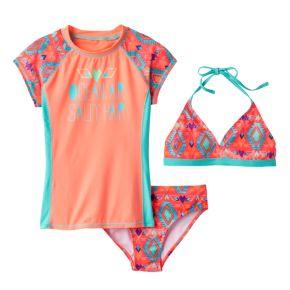 "Girls 7-16 SO® 3-pc. Geometric ""Ocean Air Salty Hair"" Bikini & Rashguard Swimsuit Set"