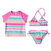 Girls 7-16 SO® 3 pc Bikini & Raglan Rashguard Swimsuit Set