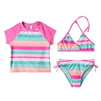 Girls 7-16 SO® 3-pc. Bikini & Raglan Rashguard Swimsuit Set
