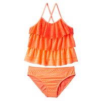 Girls Plus Size SO® Ombre Tiered Crochet 2-pc. Tankini Swimsuit Set