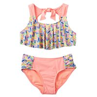 Girls 7-16 SO® Chevron Flounce Top 2-pc. Bikini Swimsuit Set
