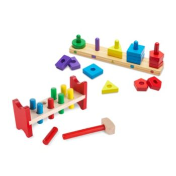 Melissa & Doug Pound-A-Peg & Stack & Sort Board Classic Wooden Toy Bundle