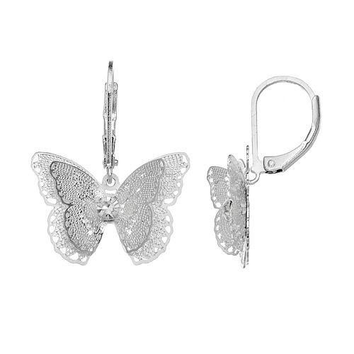 LC Lauren Conrad Openwork Filigree Butterfly Drop Earrings