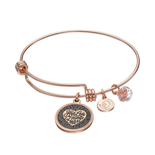 love this life Crystal Heart Disc Charm Bangle Bracelet