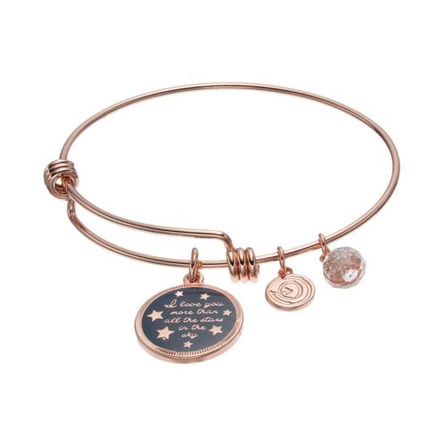 love this life Crystal Love Charm Bangle Bracelet