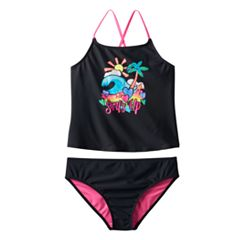 Girls Plus Size SO® 'Surf's Up' 2 pc Tankini Swimsuit Set
