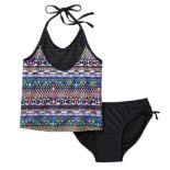 Girls 7-16 SO® Mesh Yoke 2-pc. Halter Tankini Swimsuit Set