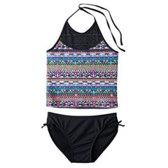 Girls Plus Size SO® Mesh Yoke 2 pc Halter Tankini Swimsuit Set