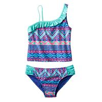 Girls Plus Size SO® Tribal Print Stripe 2-pc. Asymmetrical Tankini Swimsuit Set