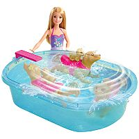 Barbie® Blonde Hair Barbie Swimmin Pup Pool Set