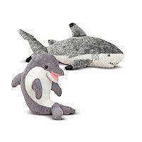 Melissas & Doug Dolphin & Shark Plush Sealife Bundle